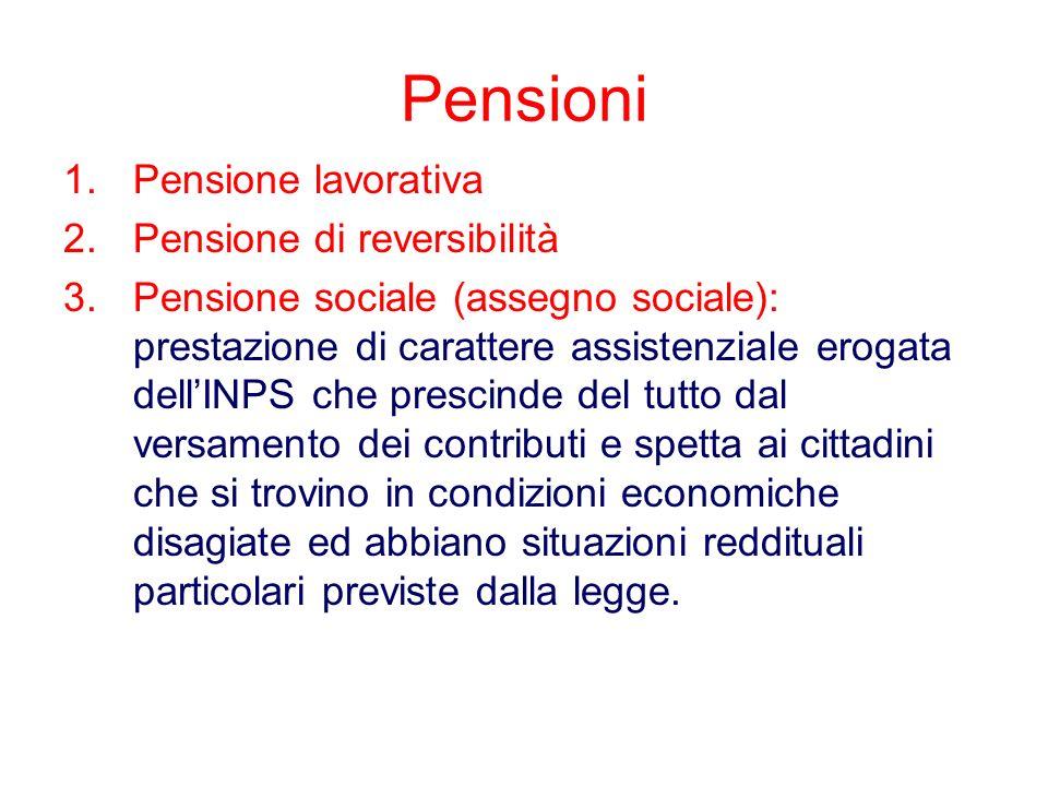 Pensioni Pensione lavorativa Pensione di reversibilità