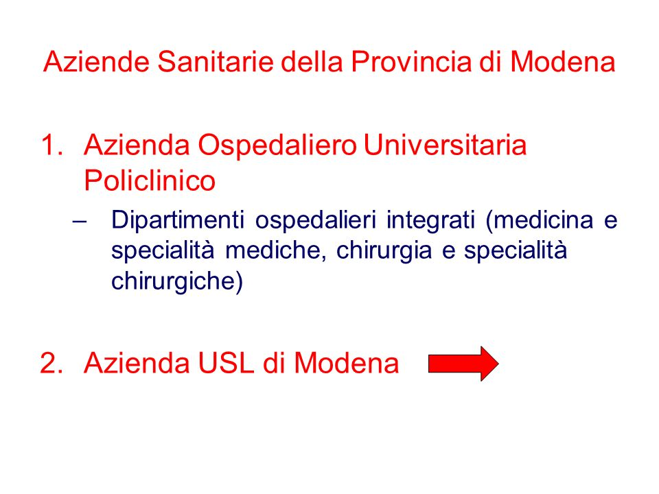 Aziende Sanitarie della Provincia di Modena