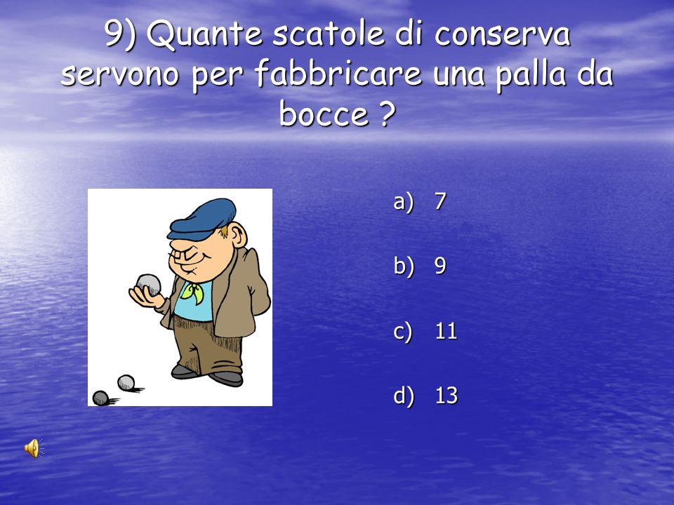 9) Quante scatole di conserva servono per fabbricare una palla da bocce