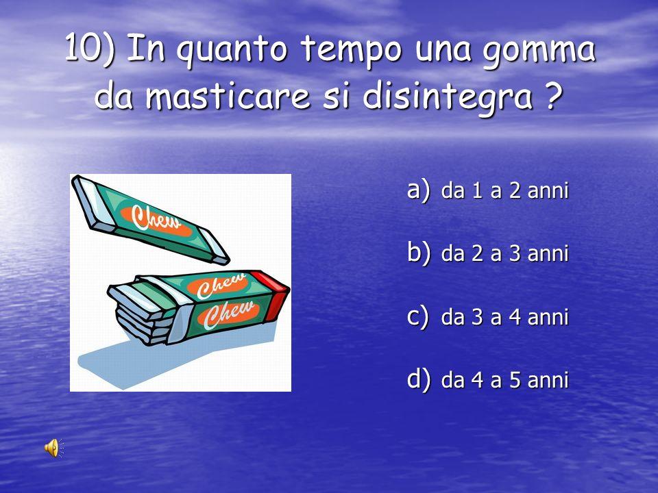 10) In quanto tempo una gomma da masticare si disintegra