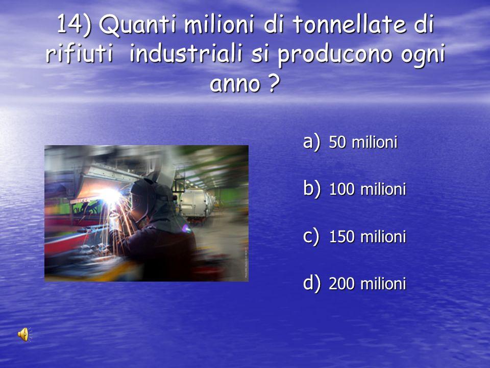 14) Quanti milioni di tonnellate di rifiuti industriali si producono ogni anno