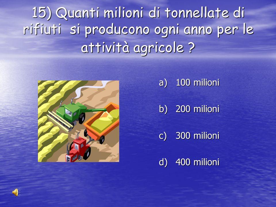 15) Quanti milioni di tonnellate di rifiuti si producono ogni anno per le attività agricole