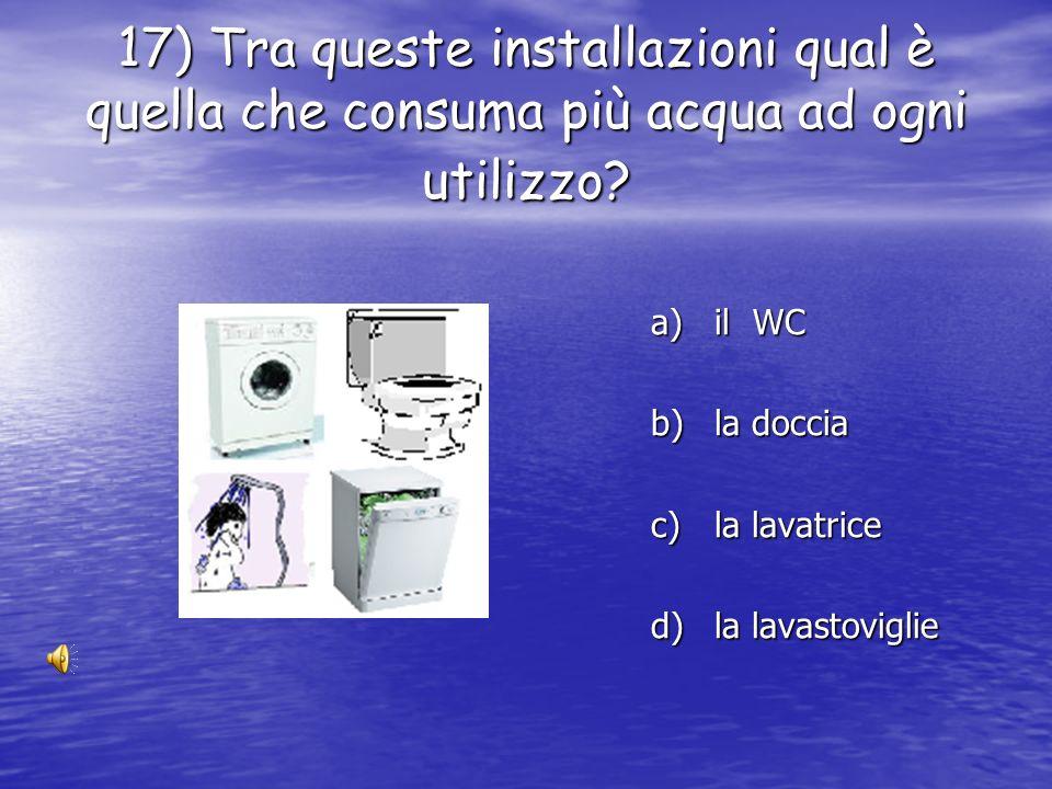17) Tra queste installazioni qual è quella che consuma più acqua ad ogni utilizzo
