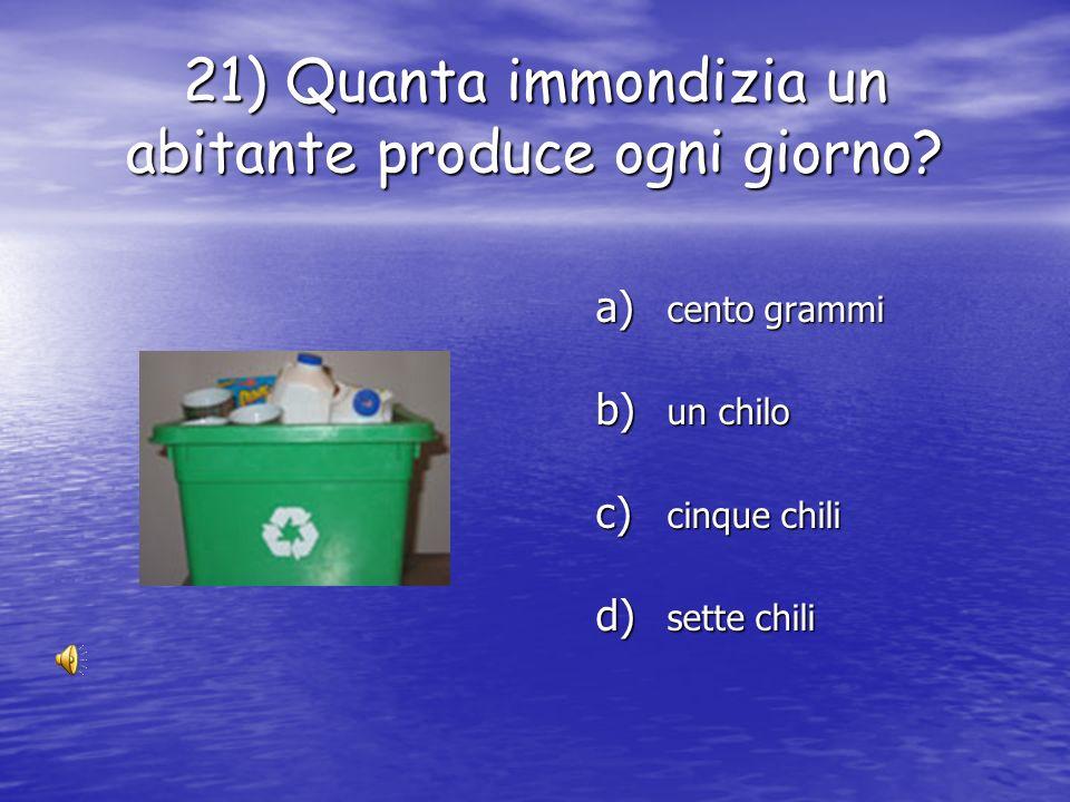 21) Quanta immondizia un abitante produce ogni giorno