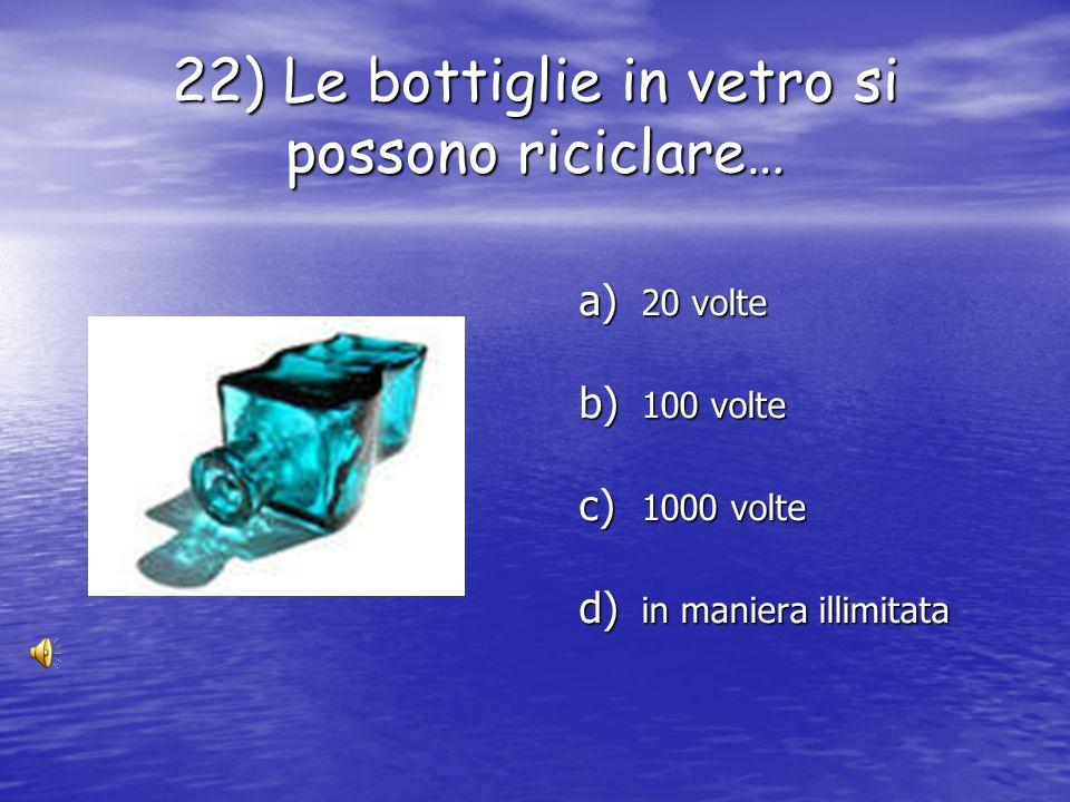 22) Le bottiglie in vetro si possono riciclare…
