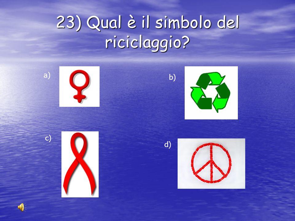 23) Qual è il simbolo del riciclaggio
