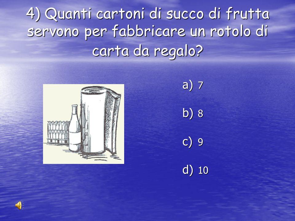4) Quanti cartoni di succo di frutta servono per fabbricare un rotolo di carta da regalo