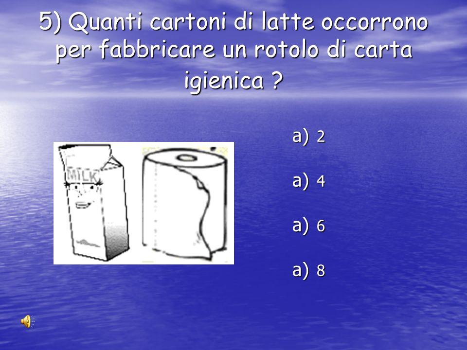 5) Quanti cartoni di latte occorrono per fabbricare un rotolo di carta igienica
