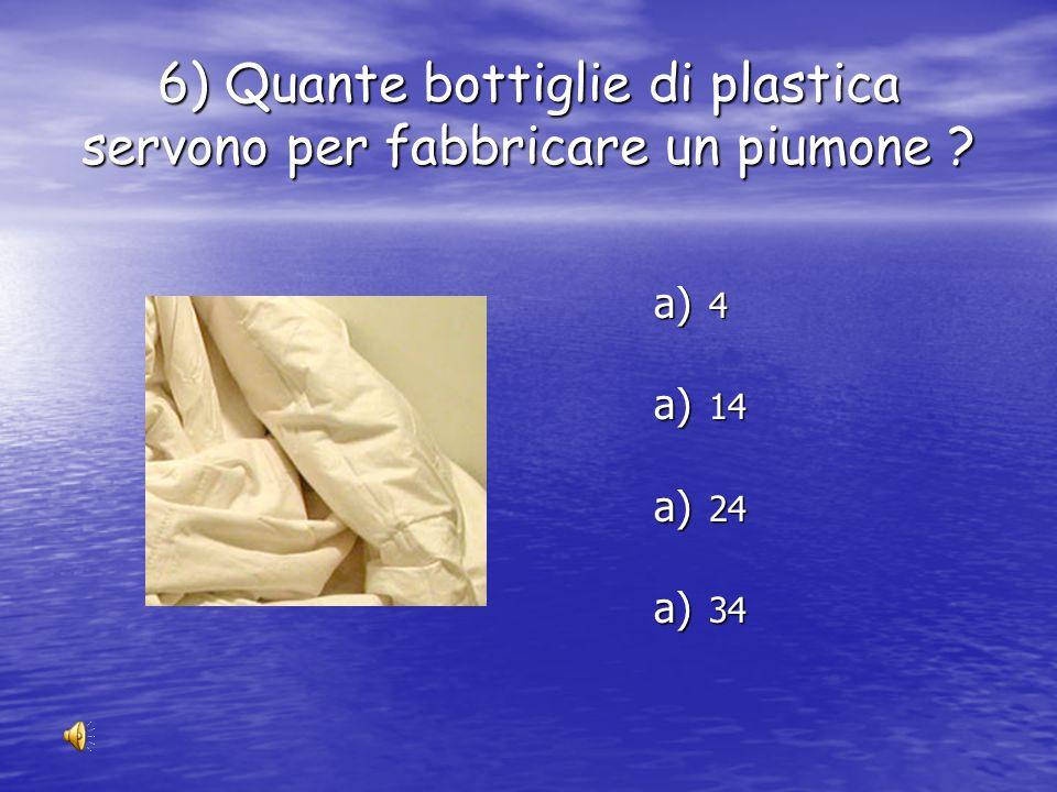 6) Quante bottiglie di plastica servono per fabbricare un piumone