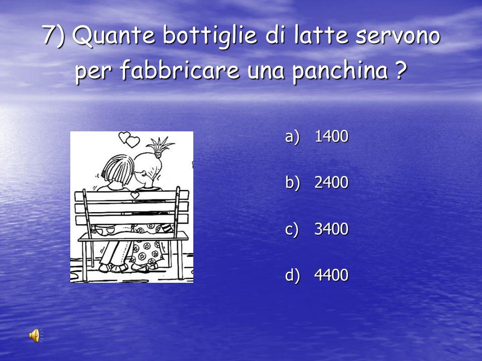 7) Quante bottiglie di latte servono per fabbricare una panchina