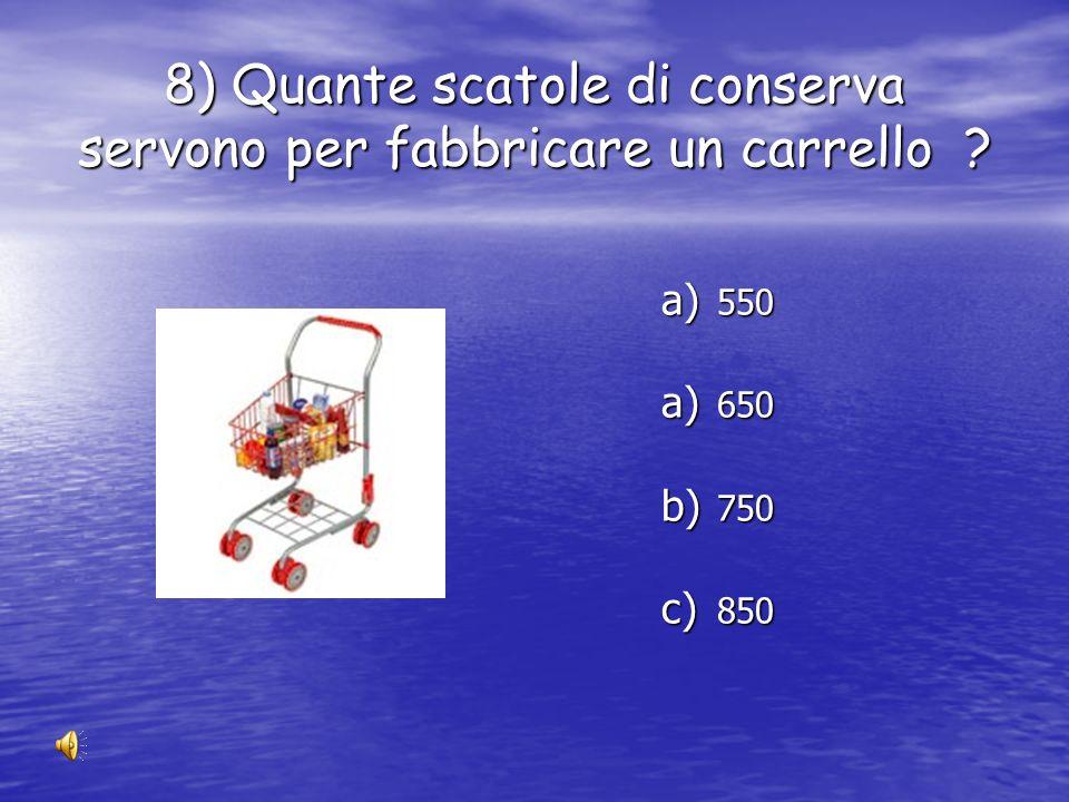 8) Quante scatole di conserva servono per fabbricare un carrello
