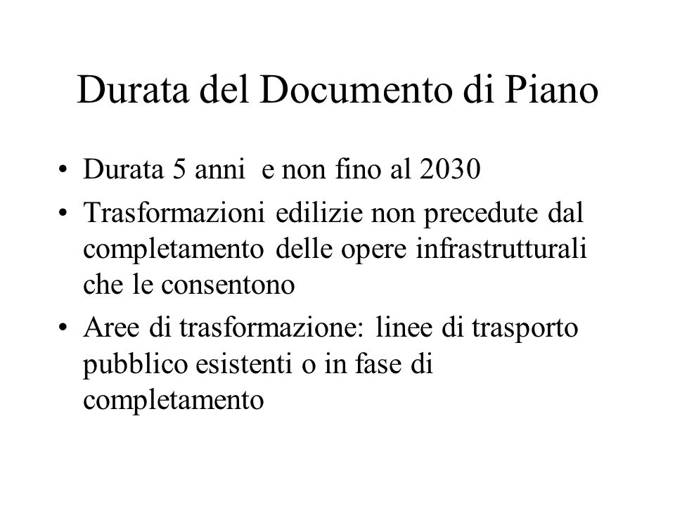 Durata del Documento di Piano