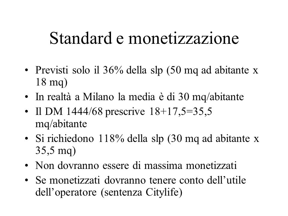 Standard e monetizzazione