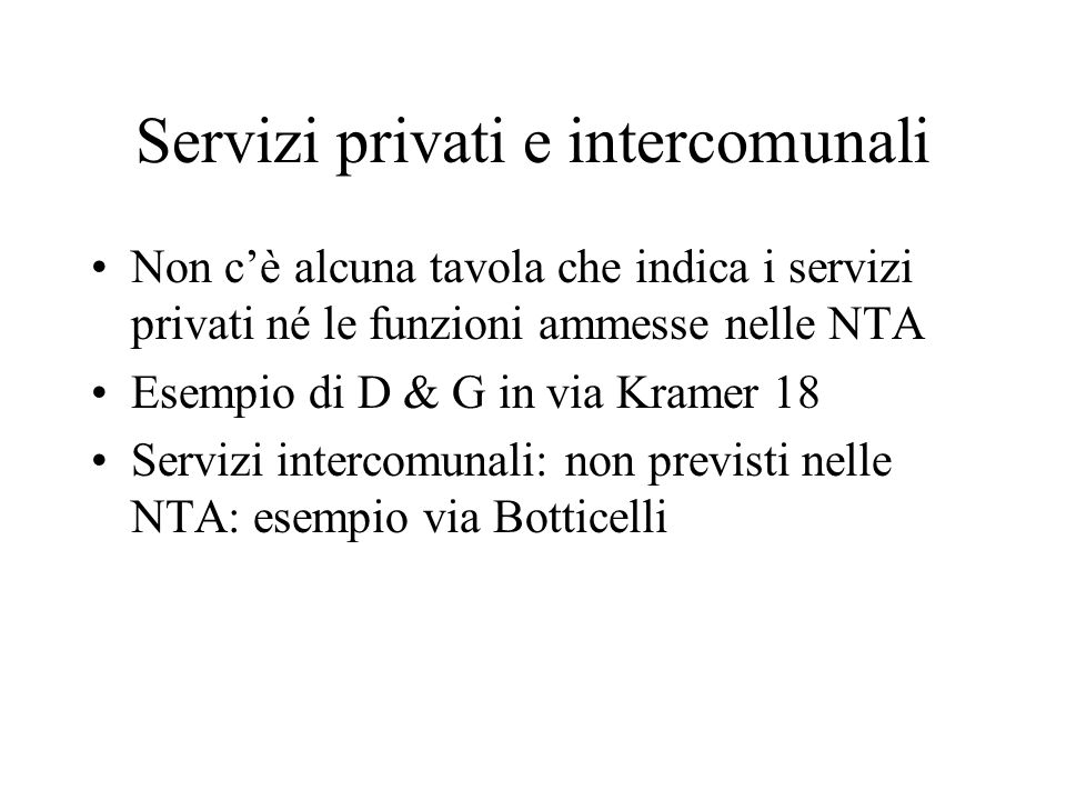 Servizi privati e intercomunali