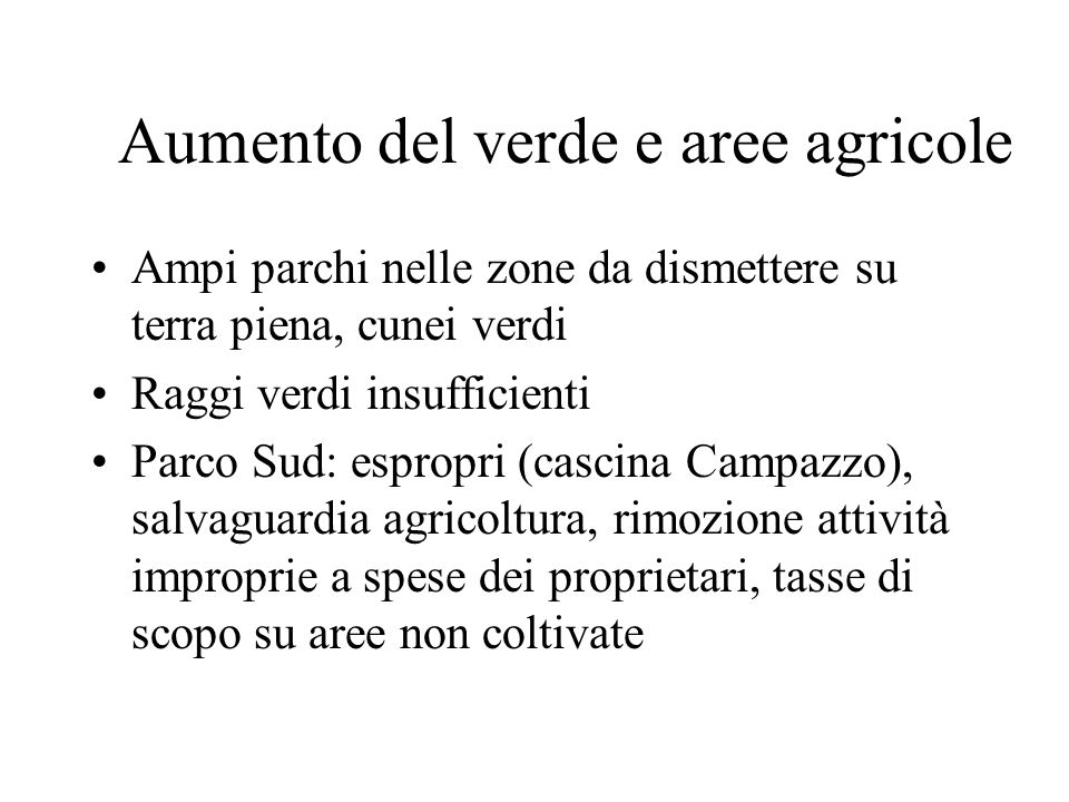 Aumento del verde e aree agricole