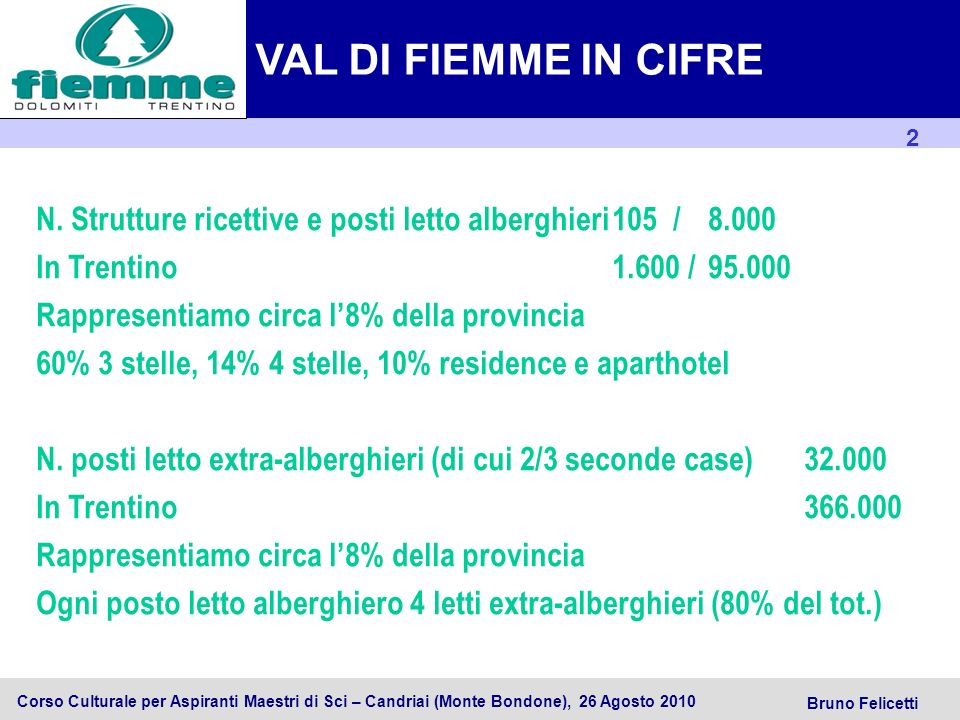 VAL DI FIEMME IN CIFRE N. Strutture ricettive e posti letto alberghieri 105 / 8.000. In Trentino 1.600 / 95.000.