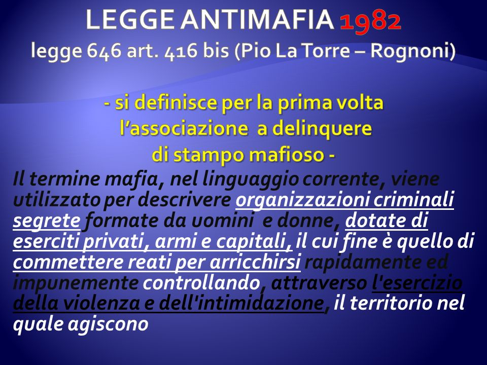 LEGGE ANTIMAFIA 1982 legge 646 art