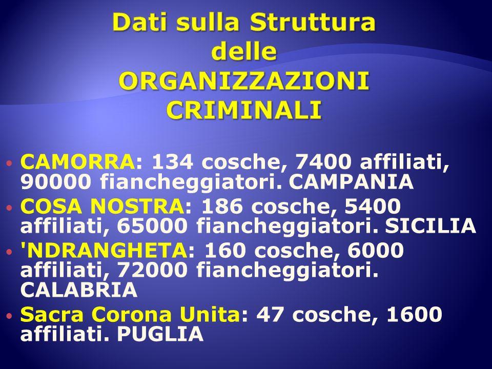 Dati sulla Struttura delle ORGANIZZAZIONI CRIMINALI