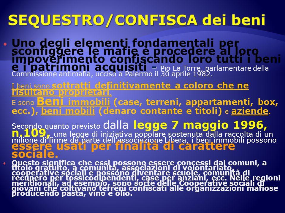SEQUESTRO/CONFISCA dei beni