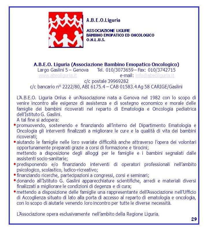 A.B.E.O. Liguria (Associazione Bambino Emopatico Oncologico)