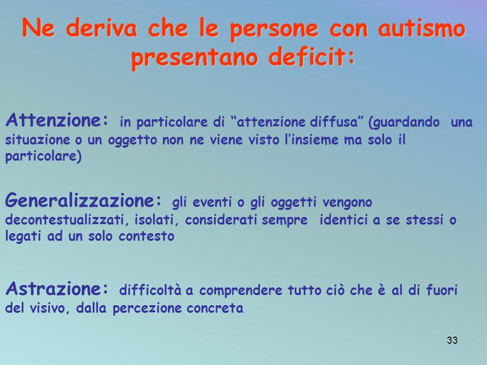 Ne deriva che le persone con autismo presentano deficit: