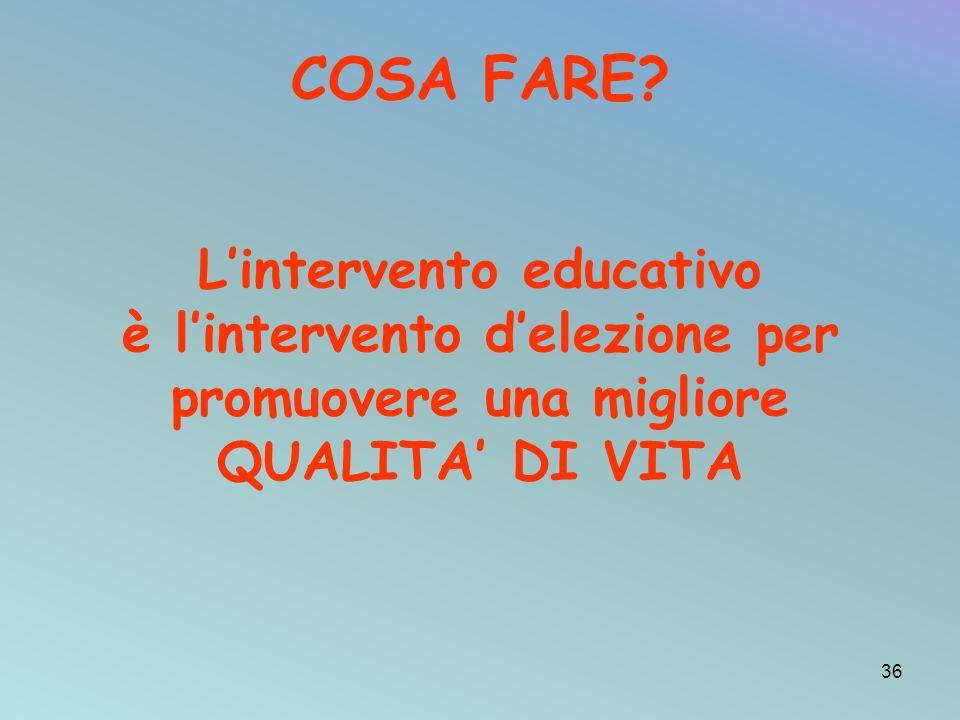 COSA FARE L'intervento educativo è l'intervento d'elezione per promuovere una migliore QUALITA' DI VITA.