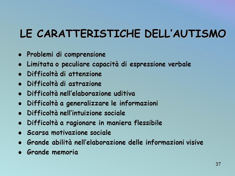 LE CARATTERISTICHE DELL'AUTISMO