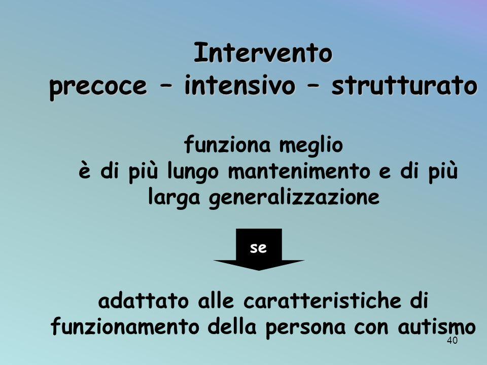 Intervento precoce – intensivo – strutturato