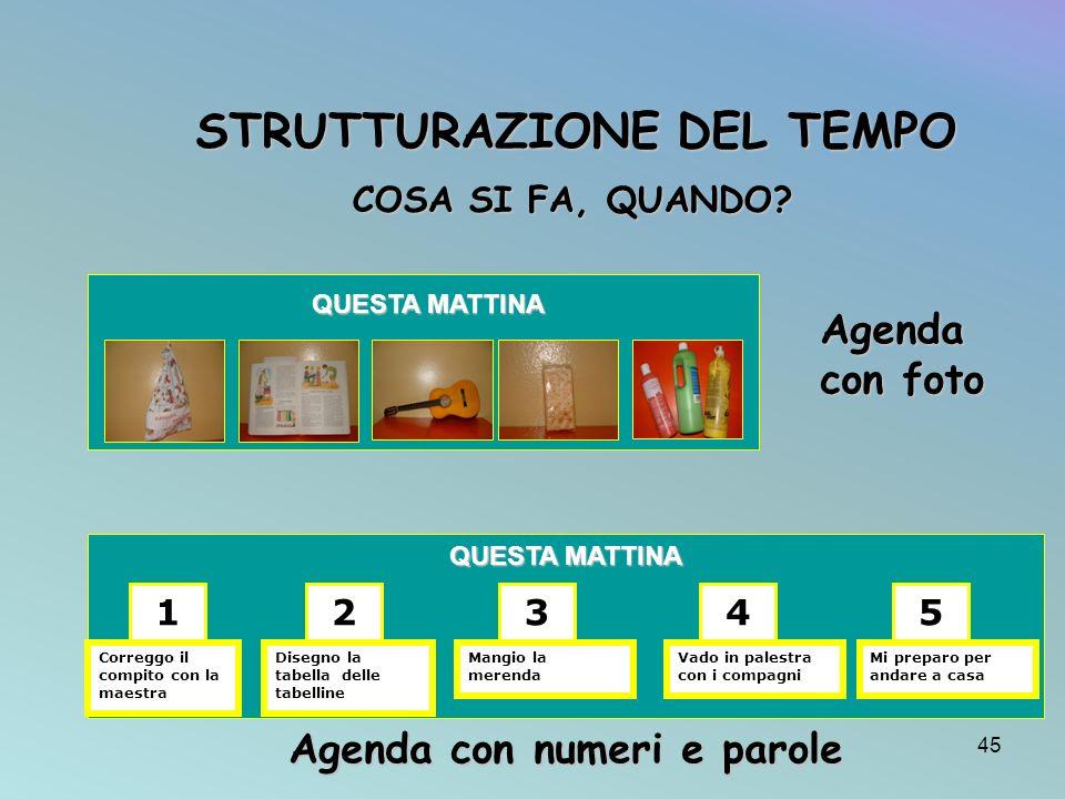 STRUTTURAZIONE DEL TEMPO Agenda con numeri e parole