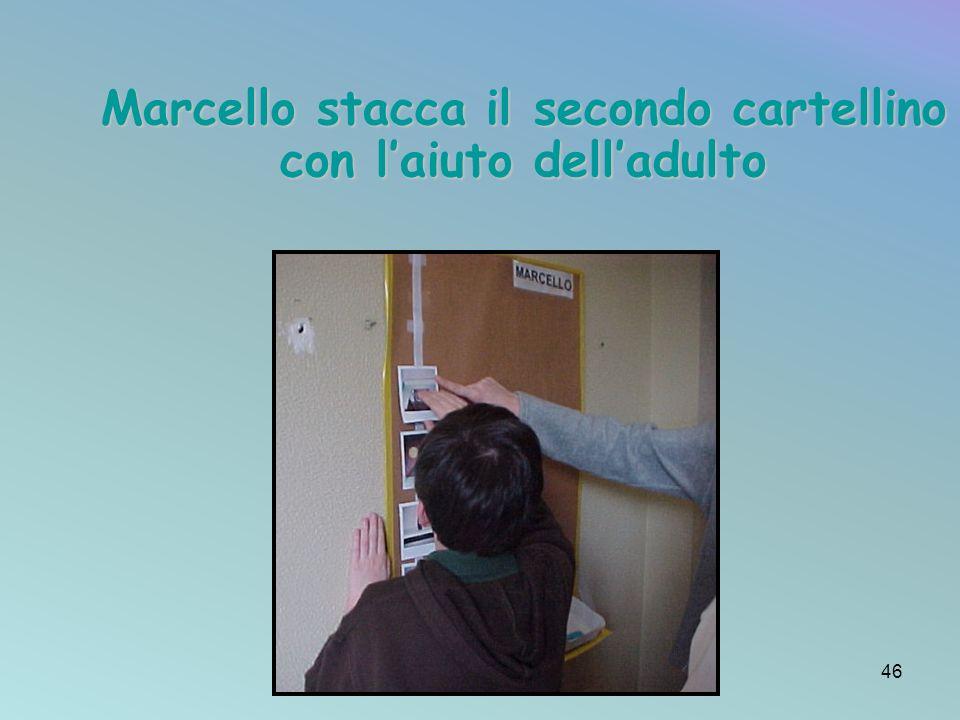 Marcello stacca il secondo cartellino con l'aiuto dell'adulto