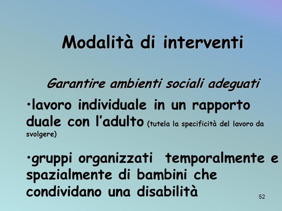 Modalità di interventi Garantire ambienti sociali adeguati