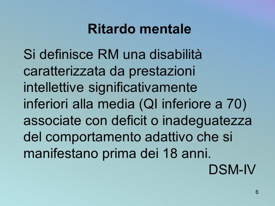 Ritardo mentale Si definisce RM una disabilità caratterizzata da prestazioni intellettive significativamente.