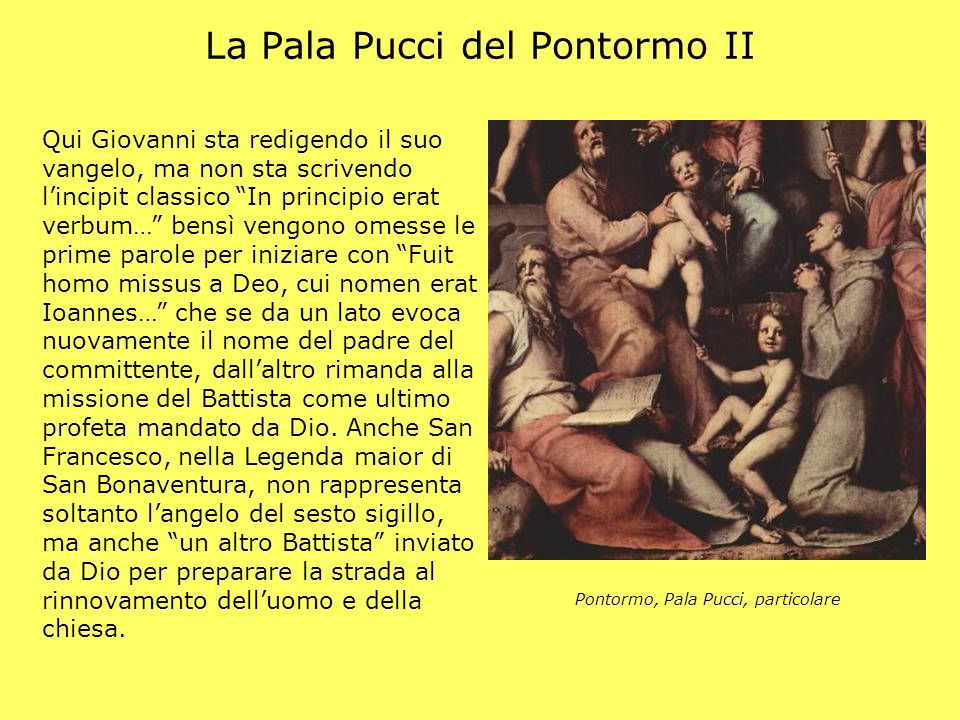 La Pala Pucci del Pontormo II