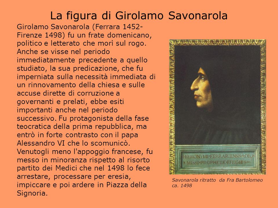 La figura di Girolamo Savonarola