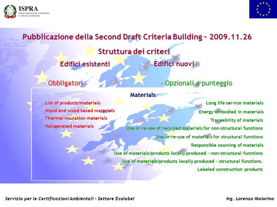 Pubblicazione della Second Draft Criteria Building – 2009.11.26