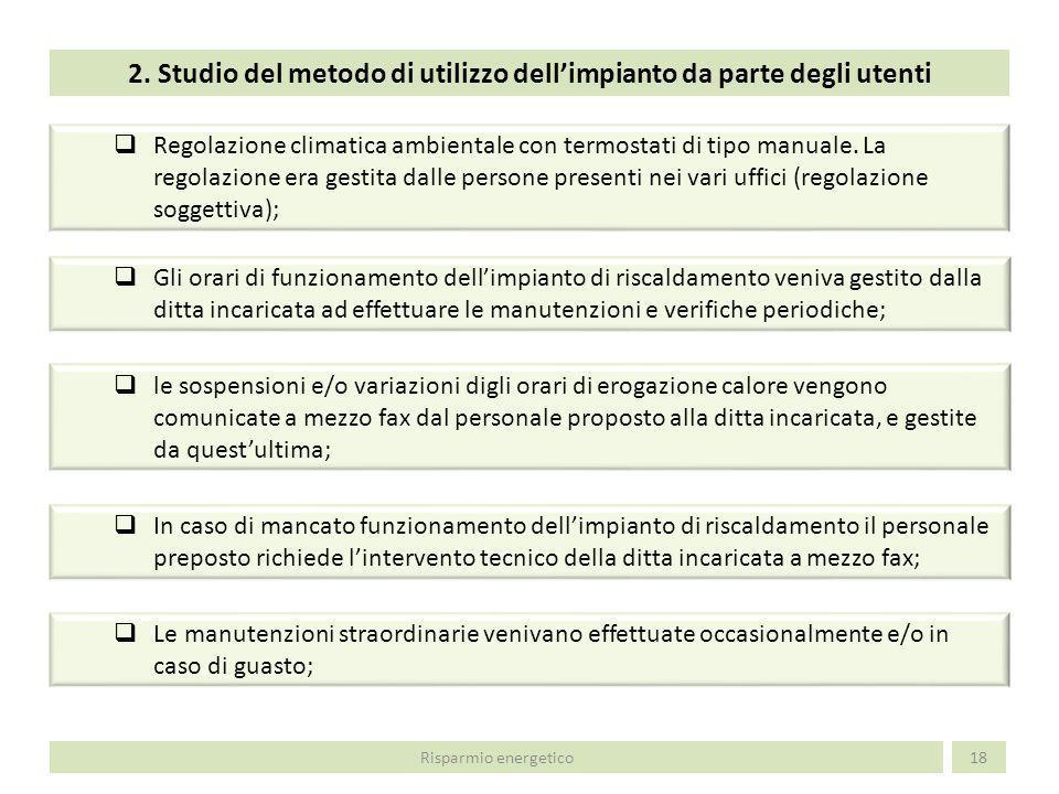 2. Studio del metodo di utilizzo dell'impianto da parte degli utenti