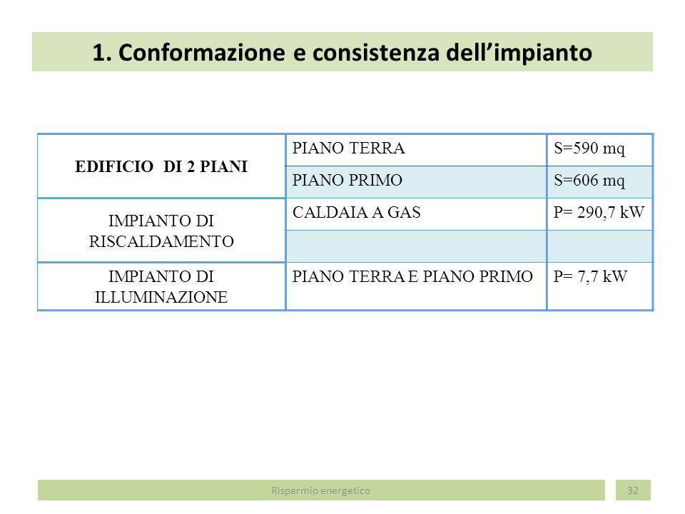 1. Conformazione e consistenza dell'impianto