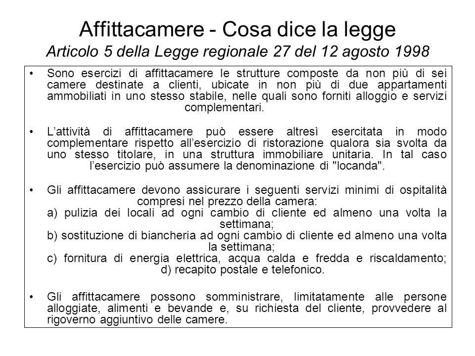 Affittacamere - Cosa dice la legge Articolo 5 della Legge regionale 27 del 12 agosto 1998