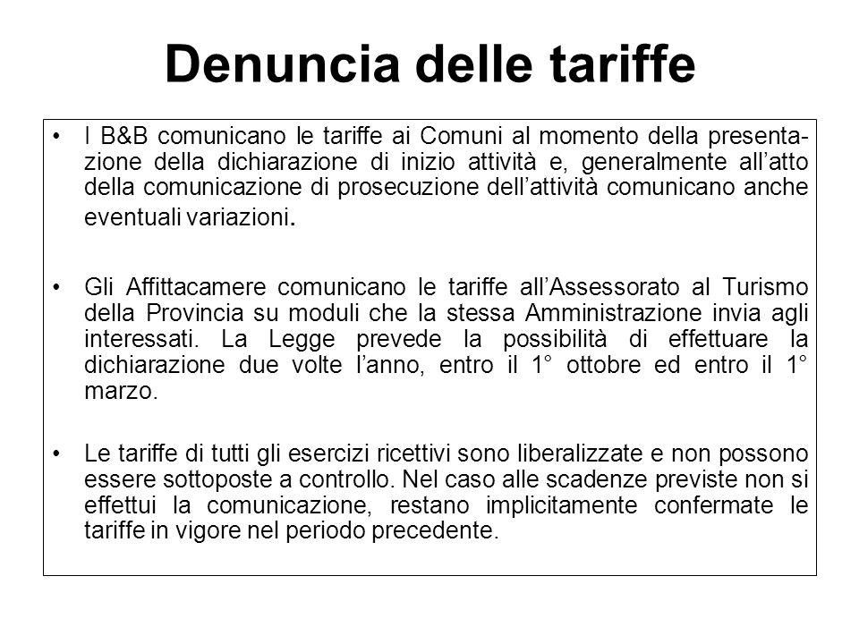 Denuncia delle tariffe