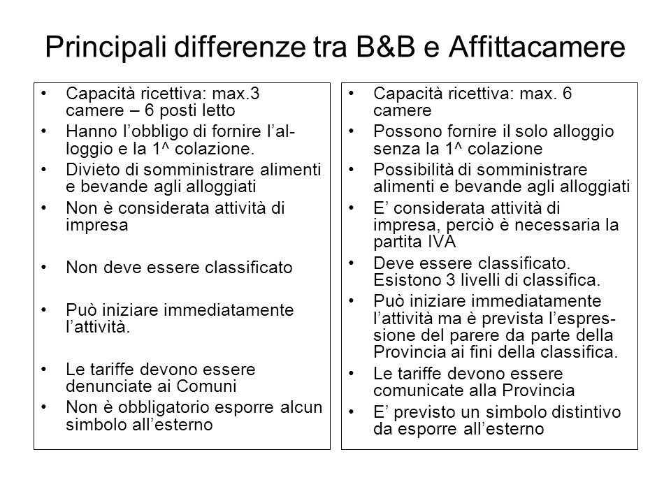 Principali differenze tra B&B e Affittacamere