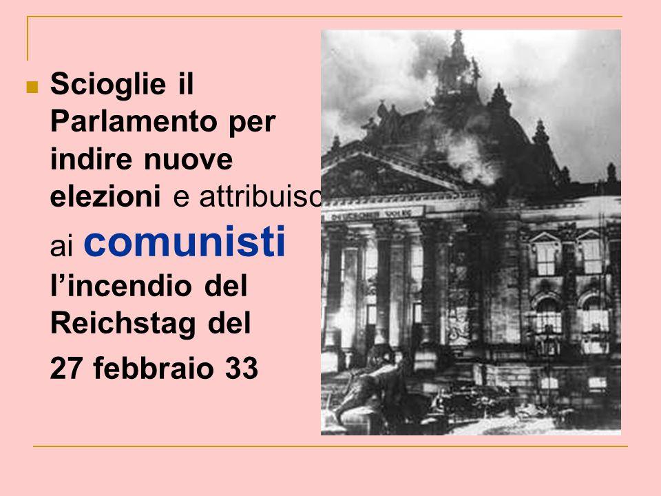 Scioglie il Parlamento per indire nuove elezioni e attribuisce ai comunisti l'incendio del Reichstag del