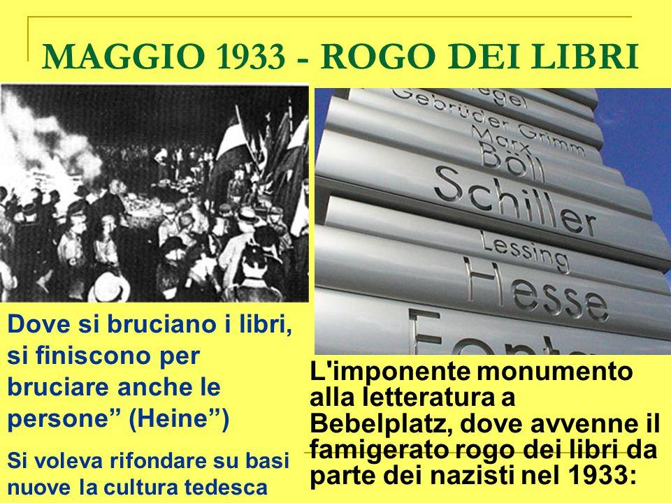 MAGGIO 1933 - ROGO DEI LIBRI Dove si bruciano i libri, si finiscono per bruciare anche le persone (Heine )