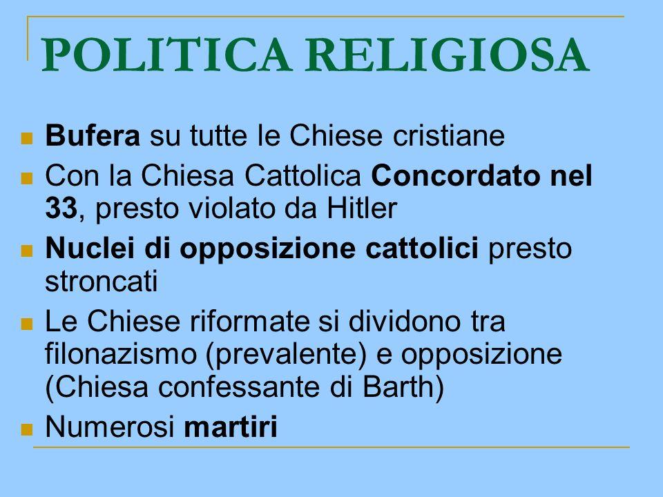POLITICA RELIGIOSA Bufera su tutte le Chiese cristiane