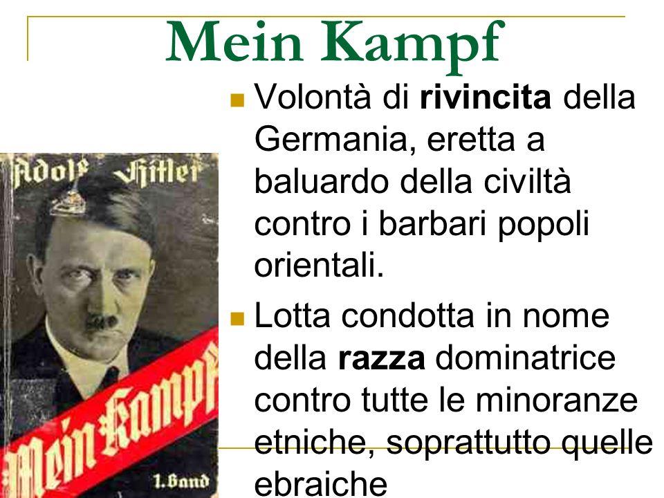 Mein Kampf Volontà di rivincita della Germania, eretta a baluardo della civiltà contro i barbari popoli orientali.