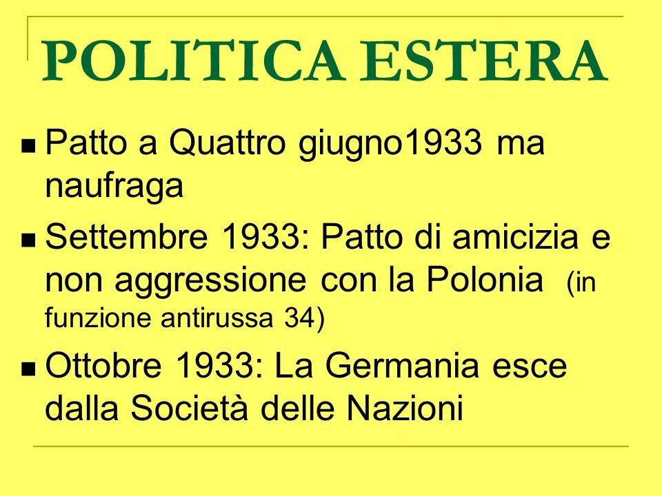 POLITICA ESTERA Patto a Quattro giugno1933 ma naufraga