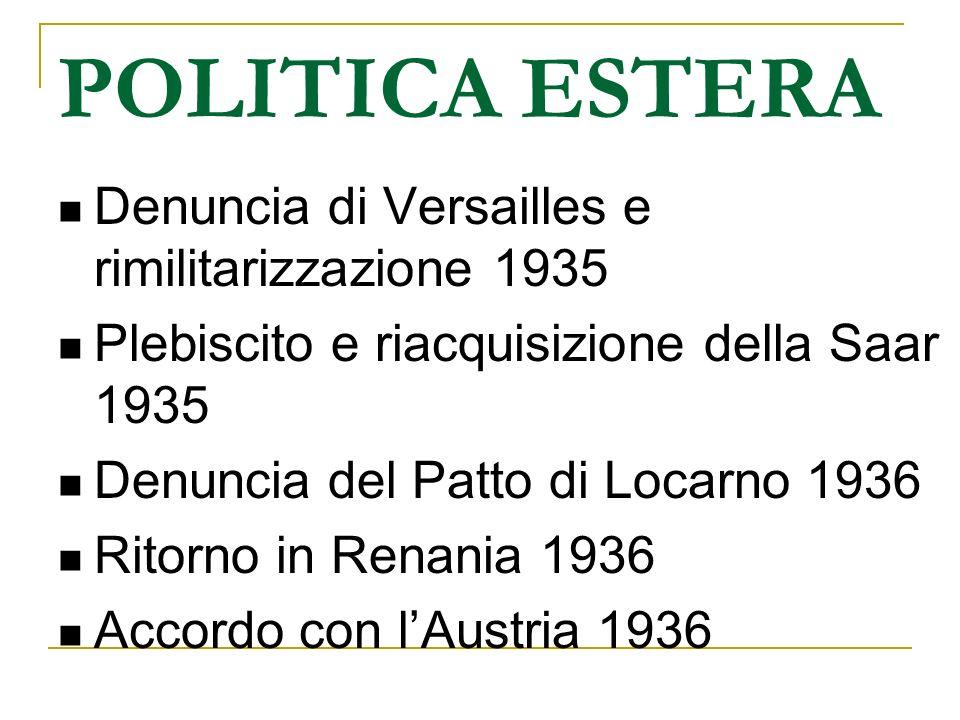POLITICA ESTERA Denuncia di Versailles e rimilitarizzazione 1935