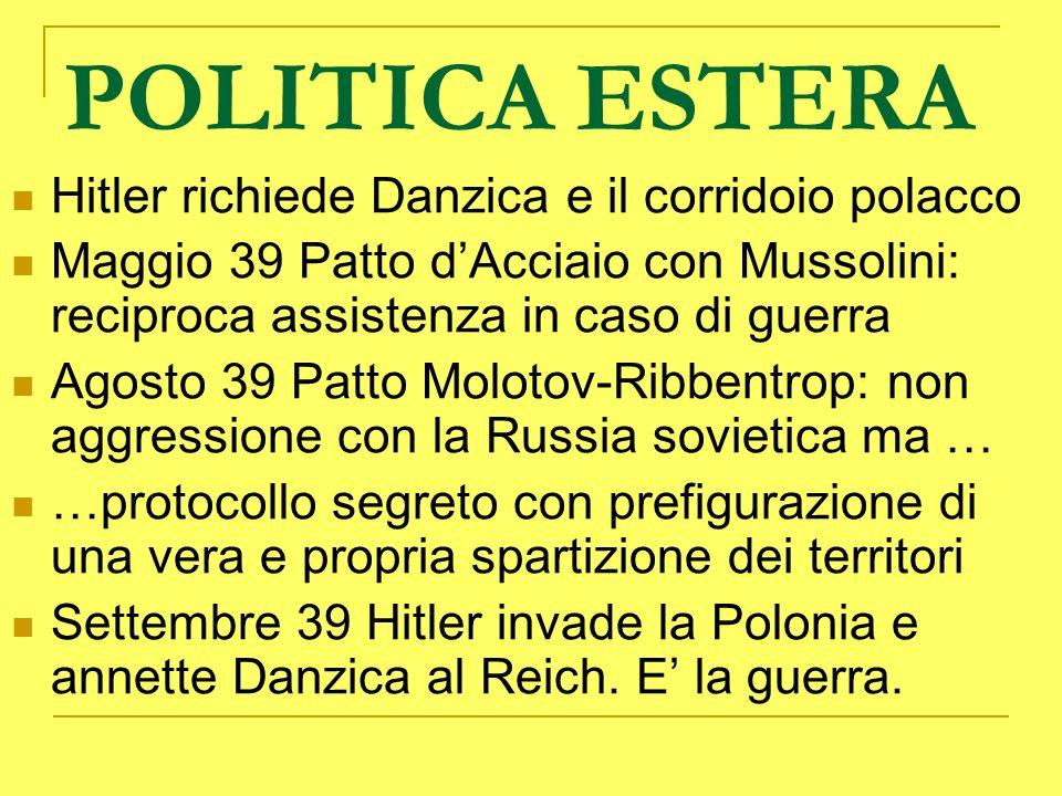 POLITICA ESTERA Hitler richiede Danzica e il corridoio polacco