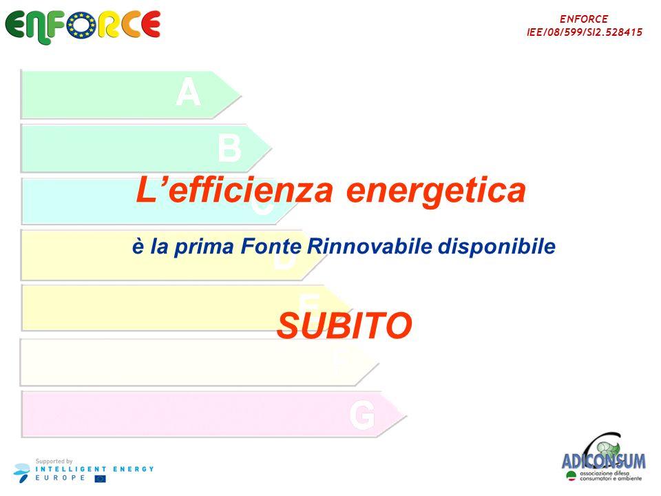 L'efficienza energetica è la prima Fonte Rinnovabile disponibile SUBITO