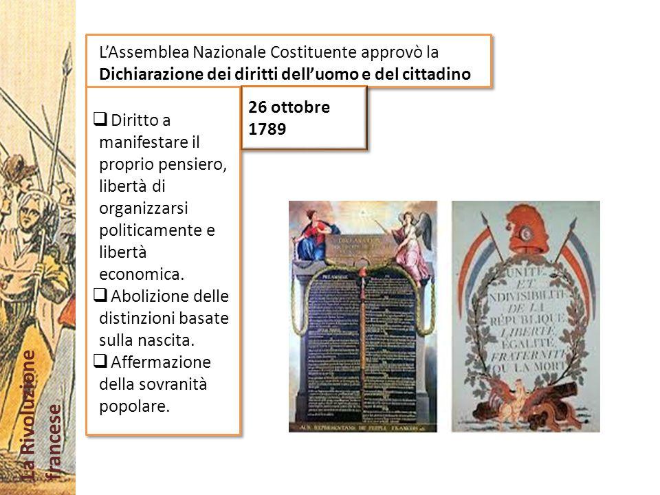 L'Assemblea Nazionale Costituente approvò la Dichiarazione dei diritti dell'uomo e del cittadino