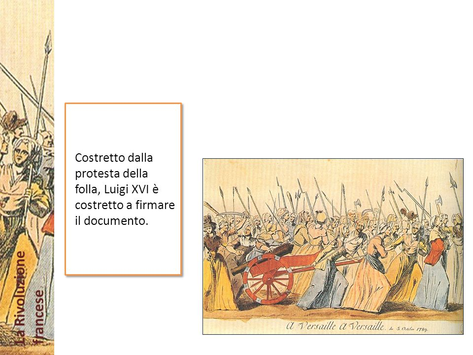 Costretto dalla protesta della folla, Luigi XVI è costretto a firmare il documento.